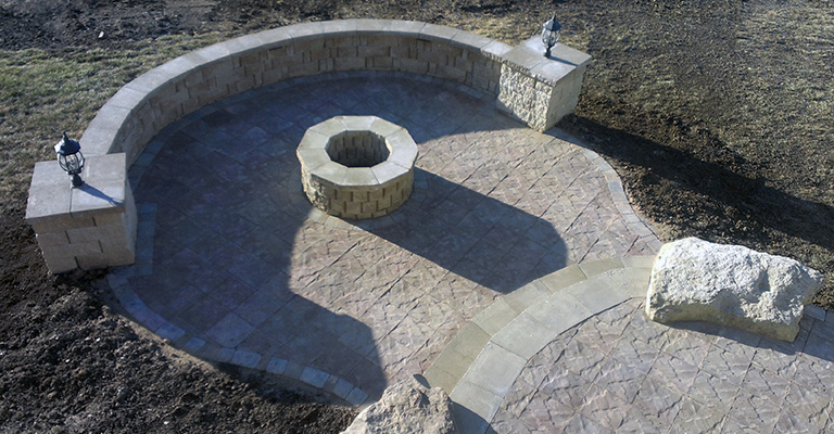 Residential Kansas City Lawn Care And Landscaping Firepit Project Finished
